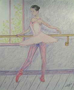 Ballerina at the Bar no 2  14x17, graphite & color pencil, jan 2, 2015 CIMG9409ss
