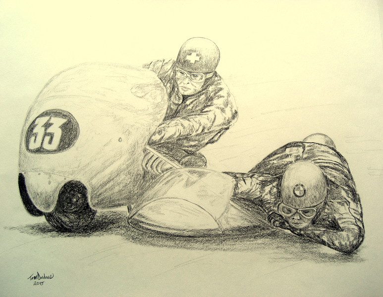 1-Fritz Scheidegger & Horst Burkhardt, winning Clermont-Ferrand, may 17,1959, 14x17, graphite pencil, feb 24, 2015