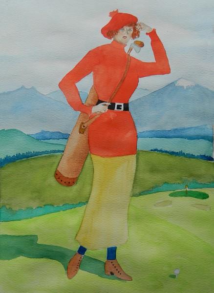 1-Tee Time - 1915, 11x15, watercolor, dec 25, 2015,DSCN9387