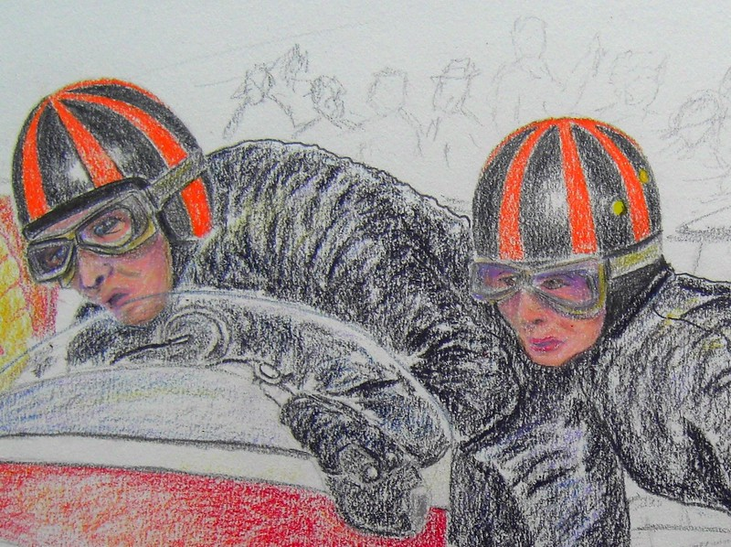 x1968 IOM TT  Norman Hanks and Rose Arnold, 14x17, color pencil, feb 11, 2015b