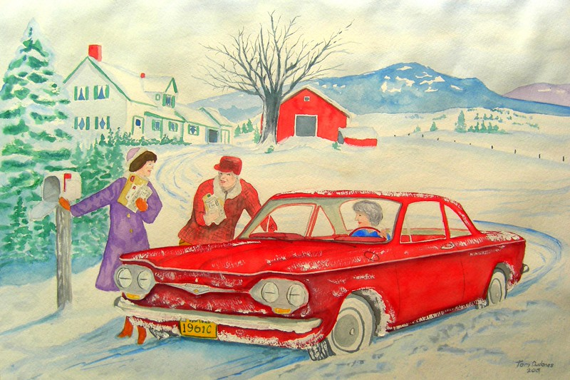 Getting; the; Mail; 1961; Corvair; 15x22; watercolor; april; 2015.CIMG9770s