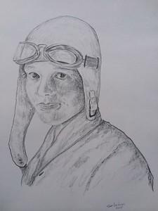 Amelia Earhart, 11x14, graphite pencil, jan 27, 2015.