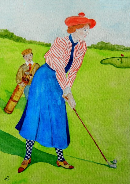 1-Lady Goes for the Green, circa 1900, 11x15, watercolor, dec 21, 2015 DSCN9224A