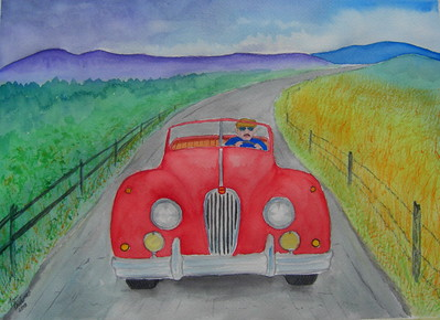 Racing; the; Storm; 1956; Jaguar; XK140; 10.5x14; watercolor; march 30,  2015.