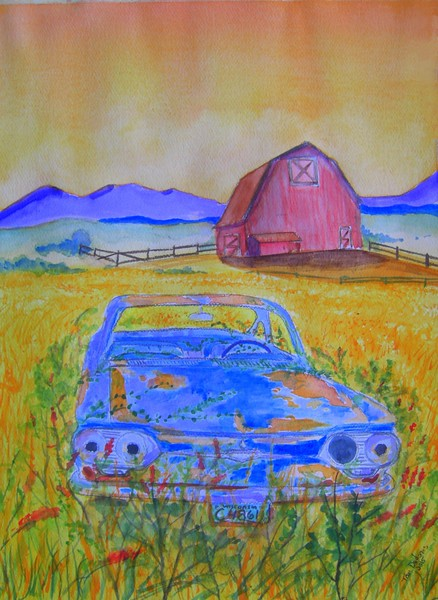 Out to Pasture; Abandoned; Corvair. 9x12; graphite &watercolor; april. 12, 2015.