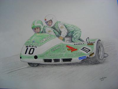 Malcolm White & Phil Spendlove - British GP 10 August 1980, Silverstone. 14x17, color pencil, march 1, 2015.