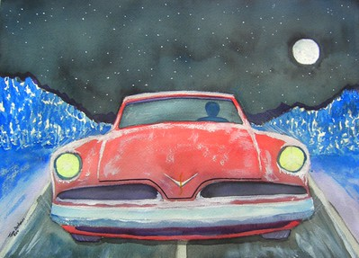 Night; Rider; 1953; Studebaker; Starlite; Coupe; 10x14; watercolor; finished; april 4,2015.CIMG9684