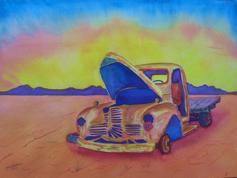 Abandoned Truck #1. 10.5x14, watercolor, march 27, 2015.