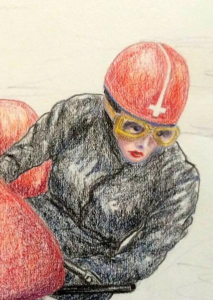 Detail - Claude and Marie Lambert, Isle of Man, june 12, 1961  14x17, color pencil, feb 3, 2015b