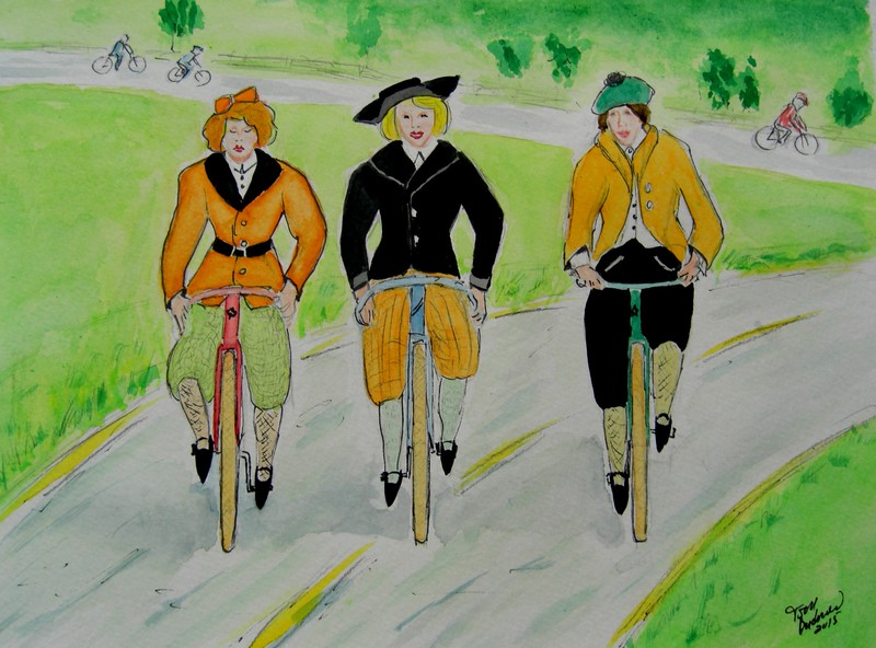 1a-Girls Out for a Ride -1900  9x12, mixed media, july 26, 2015 CIMG1298