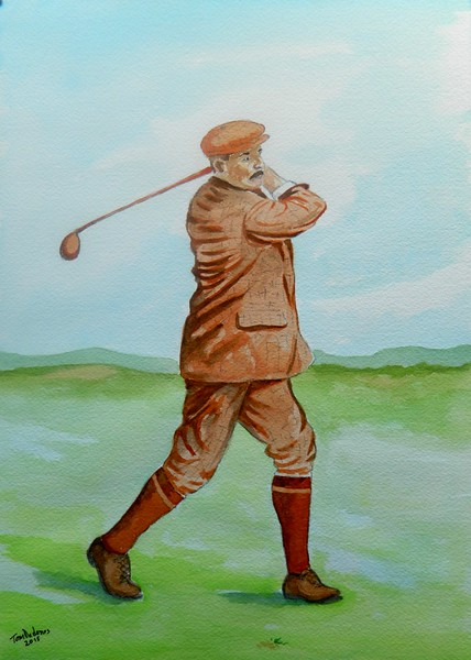 1-Harry Vardon, winner US Open, 1900  10x14, watercolor, oct 26, 2015 DSCN8960