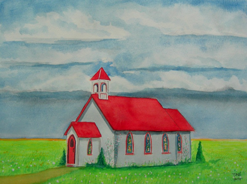 1-St Columba's Anglican Church, Tuxford, Sask  founded 1853, 11x15, watercolor, completed  july 19, 2015 CIMG1269