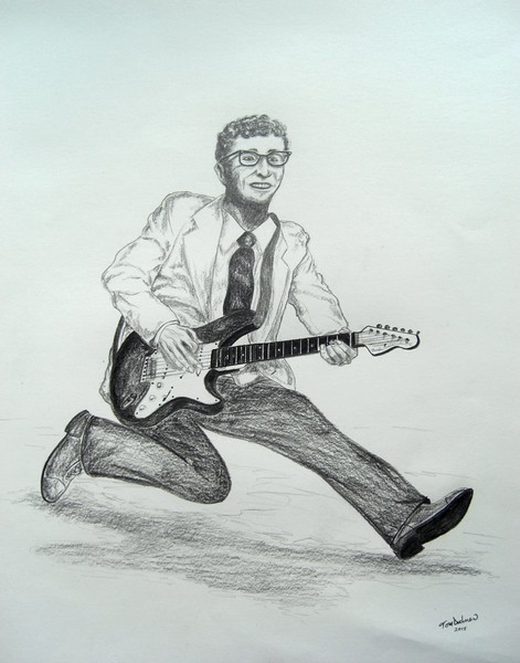 1-Rave On - Buddy Holly, 1936-1959  14x17, graphite pencil, may 16, 2015 CIMG9961