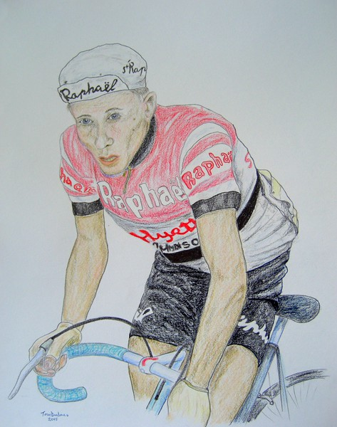 1-Jacques Anquetil, Tour de France, 1961  14x17, color pencil, completed july 22, 2015 CIMG1277