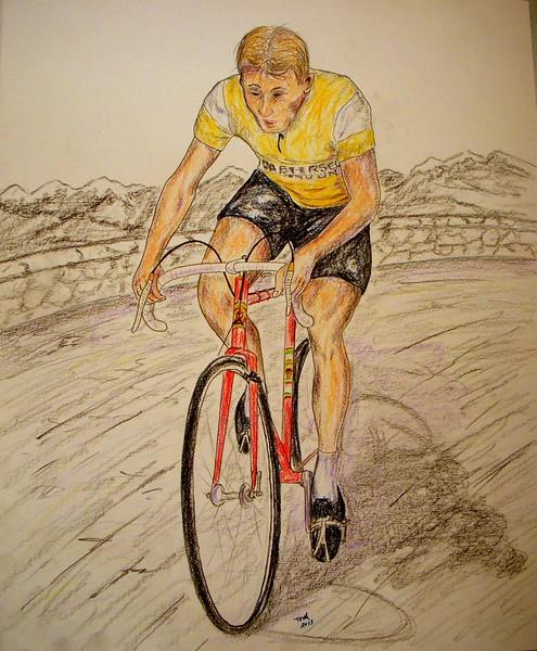 Jacques Anquetil, Tour de France Champion, 1957, 14x17, graphite & color pencil, aug 21, 2015.