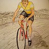 Jacques Anquetil, Tour de France Champion, 1957, 14x17, graphite & color pencil, aug 21, 2015.