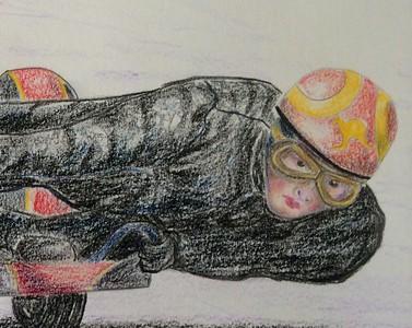 Detail - Jean Kilpatrick, late in 1958   14x17, color pencil, jan 23, 2015
