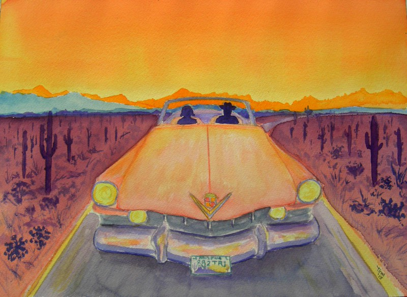 1-Pink Cadillac, 10 5x14, watercolor, completed may 7, 2015 CIMG9905