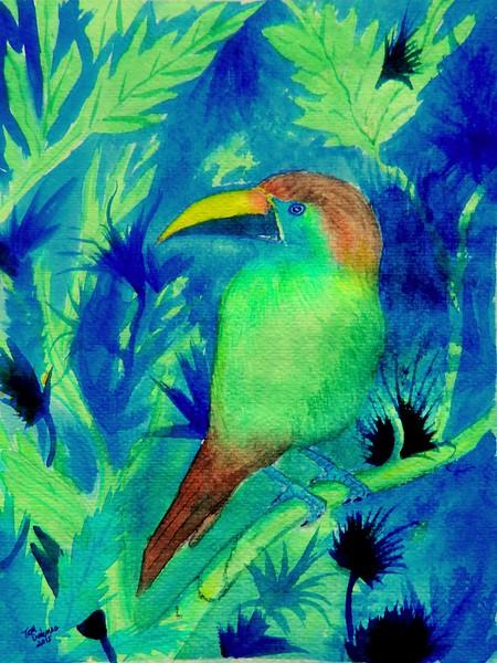 1A-Emerald-Blue Throated Toucanet, Costa Rica, 9x11 5, watercolor, nov 3, 2015 DSCN8985