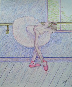 Ballerina at the Bar, no.1 - 14x17, graphite & color pencil, completed jan 2, 2015.