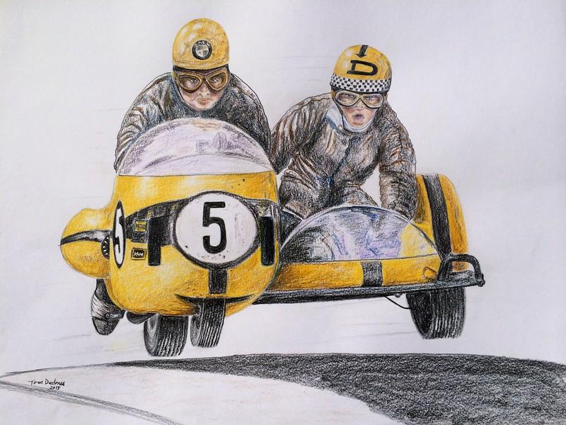 Dane Rowe and Bill Copson, Isle of Man  1969 TT  14x17, color pencil, jan 16, 2015