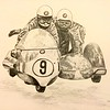 Arsenius Butcher and passenger J Huber, Ballaugh Bridge,1971 TT. 11x14, garphite pencil, jan 12, 2015