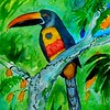 1-Fiery-billed Aracari, 9x11 5, watercolor, nov 5, 2015 DSCN8995