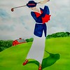 1-Lady Playing Westchester CC, 1920 - II  14x17, watercolor, nov 22, 2015 DSCN9118A