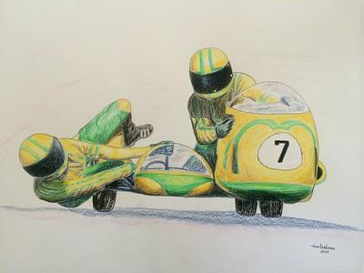 Uschi Fleischer Schick & Karl-Heinz Fleischer - Hockenheimring, 14x17, color pencil, feb 6, 2015..