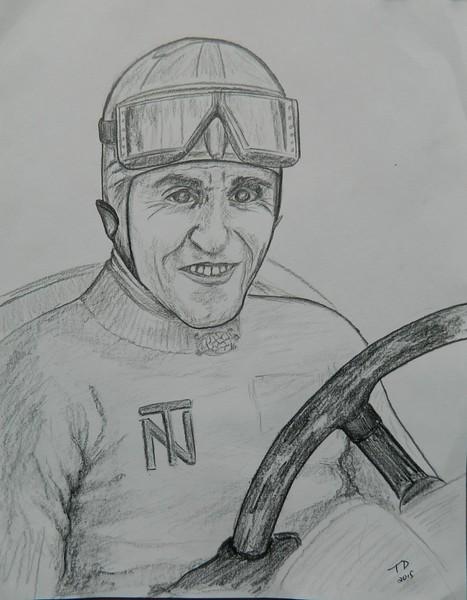 1-Tazio Nuvolari, graphite pencil, 9x11, oct 13, 2015 DSCN8779