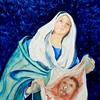 1-Saint Veronica with Veil, 9x12, gouache on clayboard, march 8, 2016 DSCN0130