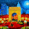 1-Autumn Night on Washington Square, 13 5x21 25, gouache watercolor on plywood, may 3, 2016 DSCN0578