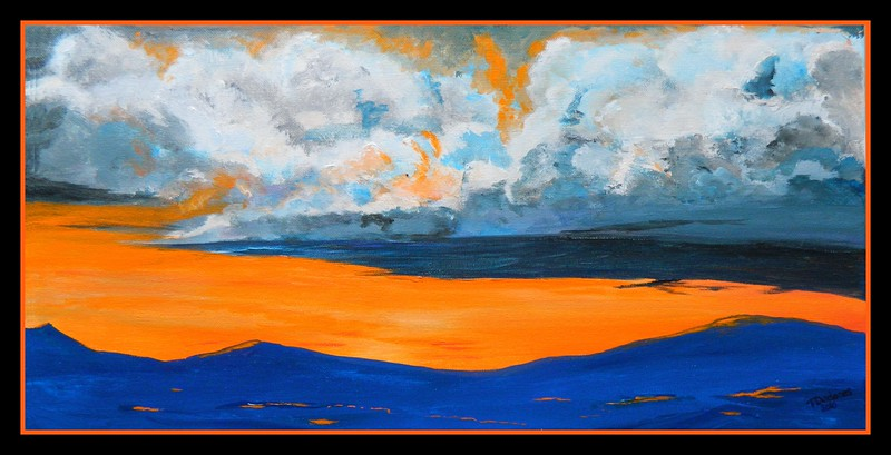 Adirondack Sunrise, 10x20, acrylic on canvas, sep 20, 2016 DSCN0525-A