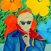 1-Warhol With Flowers, 11x15, gouache watercolor, feb 18, 2016 DSCN0069A