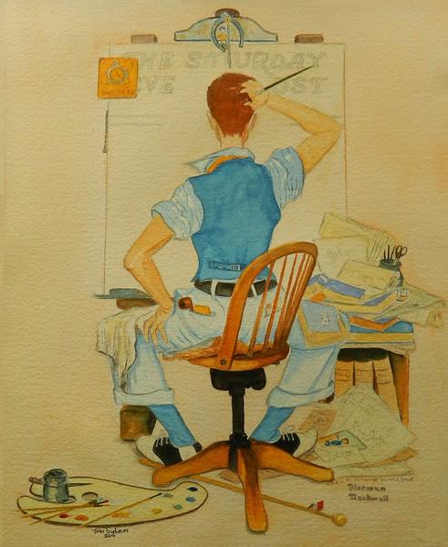 1-Norman Rockwell Homage - The Artist Dilemma  14 75x18, gouache, april 10, 2016 DSCN0430