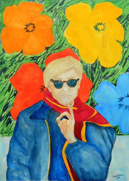 1a-Warhol With Flowers, 11x15, gouache watercolor, feb 18, 2016 DSCN0071