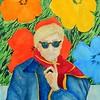 1a-Warhol With Flowers, 11x15, gouache watercolor, feb 18, 2016 DSCN0071