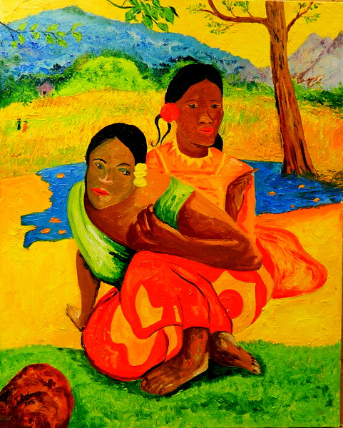 1-Homage to Paul Gauguin Nafea faa ipoipo-1892 16x20, oil, july 24, 2016 DSCN0201 DSCN0201