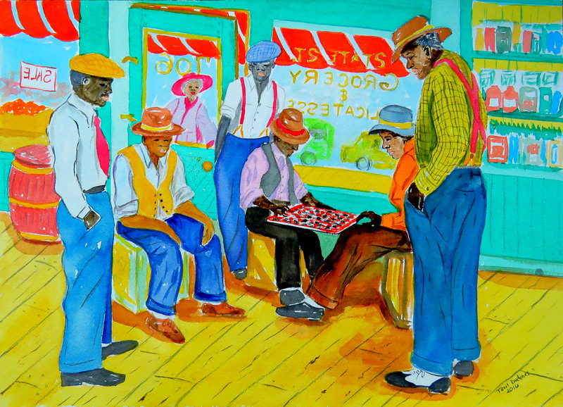 The Checker Game - South Side, Chicago, 1945, 10x14, watercolor & graphite pencil, june 29, 2016 IMG_0432