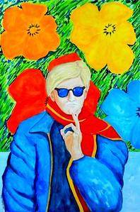 1-Warhol With Flowers II, 15x22, gouache, feb 24, 2016 DSCN0076
