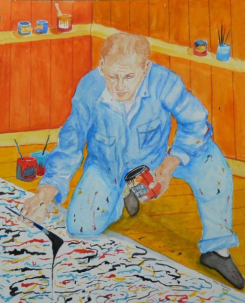 Pollock at Work, 11x15, goauche, feb 17, 2016 DSCN0064