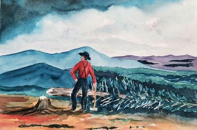 The Adirondack Lumberman - 1880, 11x15, watercolor, jan 8, 2016