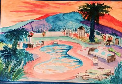 Casa Bella Sunrise, 12x15, watercolor, jan 30, 2016. gift to Jenny, feb 2016.