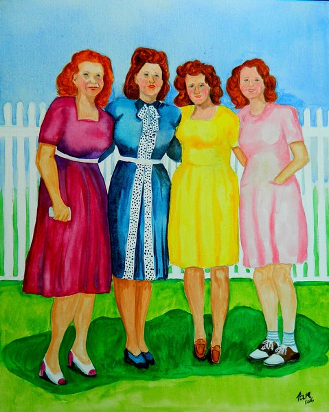 1-The Ratkovic Sisters, 16x20, gouache watercolor, may 27, 2016 DSCN9908