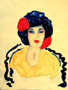 1-Girl with Red Flowers - Homage to de Hory & Von Dongen, 14x18, gouache watercolor on masonite, feb 14, 2016 c