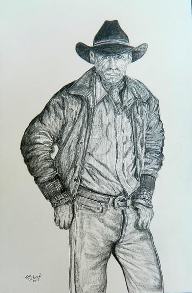1-The Rancher  12x18, graphite pencil, april 17, 2016 DSCN0469