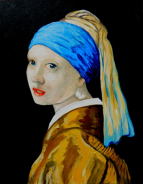 Homage to Vermeer - Girl With A Pearl Earring, 11x14, oil, july 13, 2016 DSCN0136
