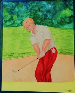 Jack Nicklaus, 1970 US Open, 12x15, watercolor, jan 29, 2016