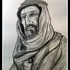 1a-Auda Ibu Tayi, leader of Arab Revolt, 1914-18  14x17, graphite pencil, aug 11, 2016 DSCN0284-A