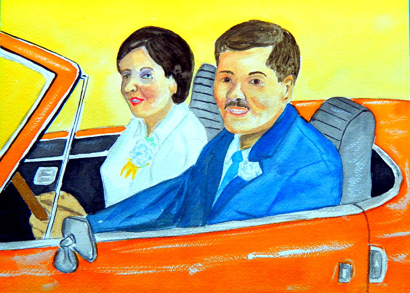 The Newlyweds, Janet and Tom, aug 23, 1969  9x12, watercolor, aug 24, 2016 DDSCN0383